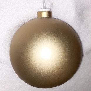 Goudkleurige kunststof kerstbal - 80mm