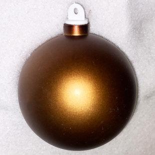 Bronskleurige kunststof kerstbal - 80mm