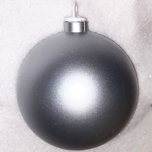 Zilverkleurige kunststof kerstbal - 80mm